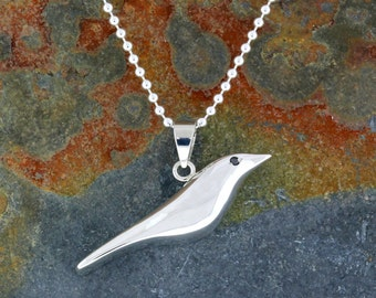 "Sterling Silver ""Nod to Eames"" House Bird Pendant/Necklace. READY TO SHIP!"