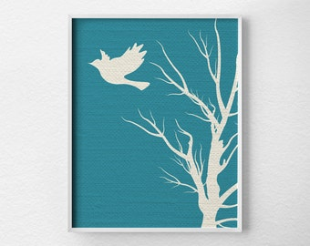 Modern Bird Art, Tree Wall Art, Modern Home Decor, Nursery Decor, Modern Art Print, Nature Art Print, Minimalist Art, Blue and White, 0240