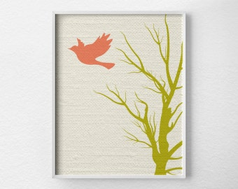 Modern Bird Art, Tree Wall Art, Modern Home Decor, Nursery Decor, Modern Art Print, Nature Art Print, Minimalist Art, Coral Art, 0241