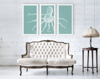 Octopus Canvas Print, Octopus Art, Nautical Canvas Print, Octopus Decor, Triptych Art, 3 Set Canvas, Large Canvas Print, Modern Home Decor