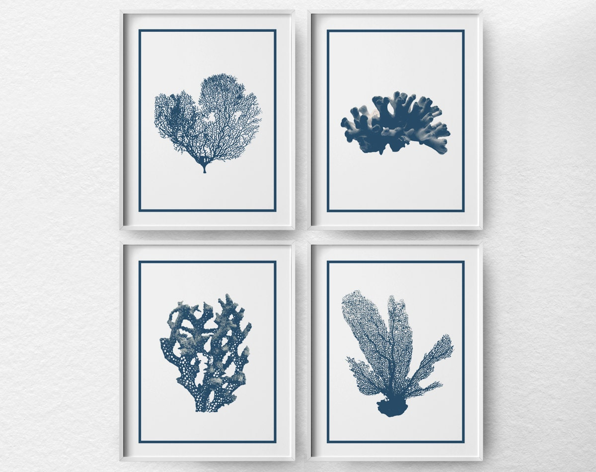 Coral Art Nautical Sea Life Set Of 4 Beach Decor Coastal