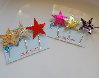 Star Hair Pins Set of 3 Gold Silver Glitter  3 bobby pins Gifts for Her . By Rio's bows CUSTOMIZE . Star Bobby Pin Bridal Hair Accessory