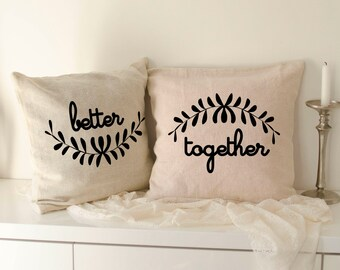 Better together pillows 40x40 cm Burlap Pillows, Burlap pillow Cover, Couples gift, wedding pillows, wedding gift, wedding pillow cases