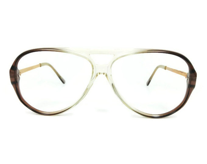 Vintage 1980s Glasses | Clear Brown Aviator Eyeglass Frame | NOS Eyeglasses - January Brown