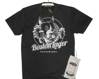 Boston Terrier Shirt - Craft Beer Shirt - Dog Drinking Beer Mens Shirt