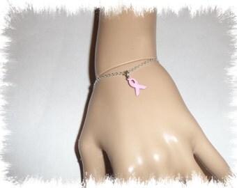 Pink .925 Breast Cancer Awareness Sterling Silver Bracelet