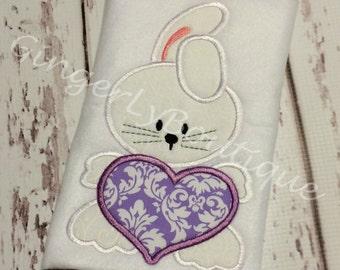 Bunny with Heart Shirt or Bodysuit, Girl Bunny Shirt, Girl Easter Bunny Shirt, Girl Easter Shirt, Girl Easter Egg Hunt Shirt, Girl Easter