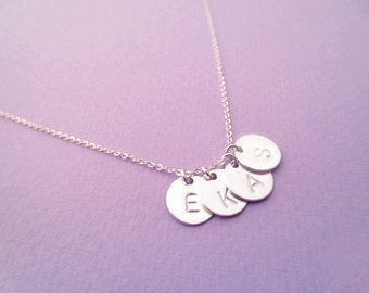 Initial, 1-6 Discs, Necklace, Sterlingsilver, Necklace, Sterlingsilver, Jewelry, Simple, Modern, Gift, For, Her, Personalized, Necklace