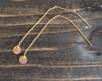 Gold Threader Earrings; Gold Disc Earrings; Lightweight Earrings; Gifts for Her