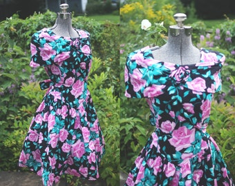 vintage 1980s pink green and black floral rose party dress (small)