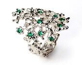SEA SPRAY Sterling Silver Emerald Ring, Gemstone Ring, Birthstone Ring, Floral Ring, Statement Ring