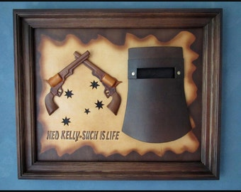 Ned Kelly Handmade Leather Wall Art Decor Picture * One OF ITS  KIND*