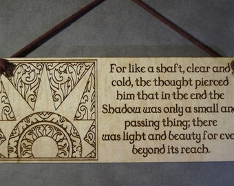 Lord of the Rings,  LOTR, Hobbit, Small Plaque,Laser Engraved Wood, Laser Cut Mini Wall Hanging