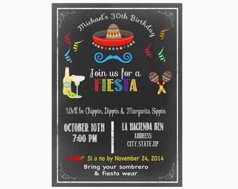 Fiesta invite, Fiesta birthday Cinco de Mayo Birthday Party Invitation mexican fiesta invite adult