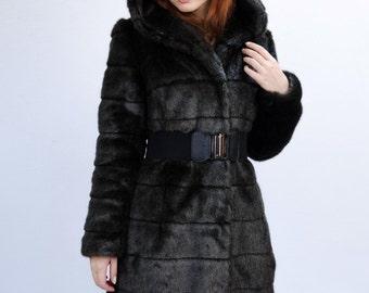 "Faux fur coat ""Black mink"" with a hood"