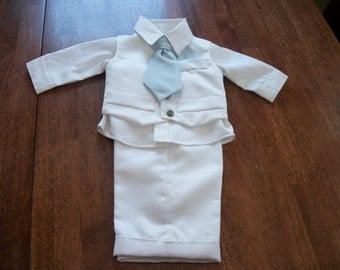 Handmade Infant Boys Satin 4 piece White Christening/Baptism Outfit