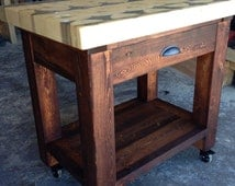 Kitchen Island with Butcher Block Top - Handcrafted from Recycled Beetle Kill Pine w/ drawer & end grain top.
