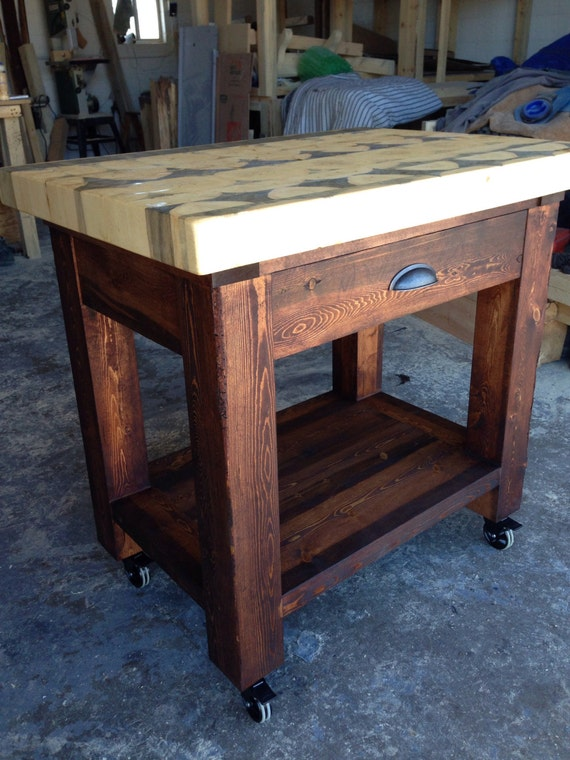 Kitchen Butcher Block Island Tops : Kitchen Island with Butcher Block Top Handcrafted from