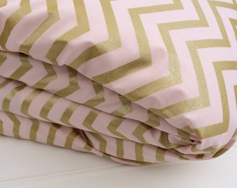 Cot quilt / doona / duvet cover in Blush Rose and Gold