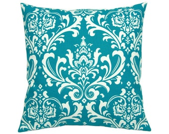 Pillowcase OZBORNE turquoise and white Baroque ornament 50 x 50 cm