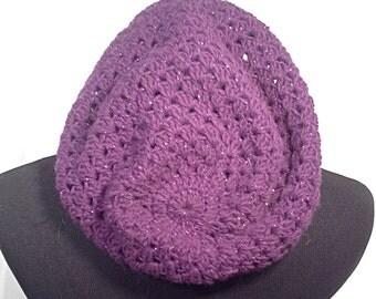 Purple Sparkle Slouchy Crochet Beanie