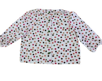 Baby polka dot shirt, cotton, size 6 months.