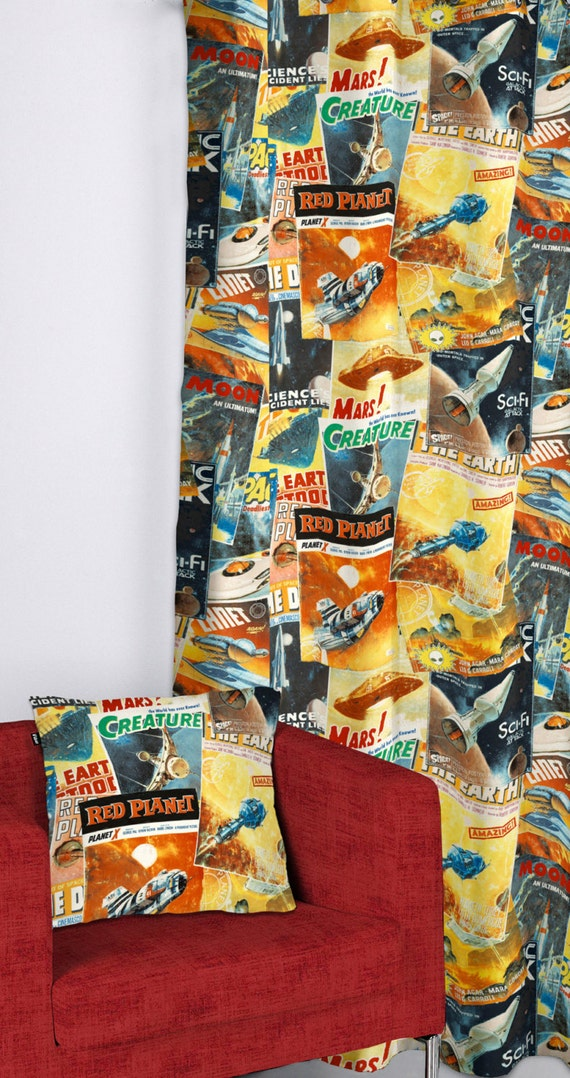 Sci fi mars space cotton print fabric vintage by for Space themed fabric