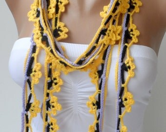 Bohemian scarf Crochet lariats Colourfull Crochet scarf Womens scarfs lariats Scarflette Crochet jewelry boho scarves fashion trendy