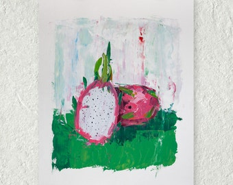 Dragon Fruit Painting, Original Art, Oil Painting, Palette Knife Painting, Small Art, Pink and Green, Tropical Art, Kitchen Art Decor
