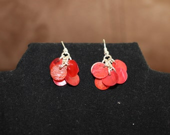 Red mother of pearl dangle earrings.