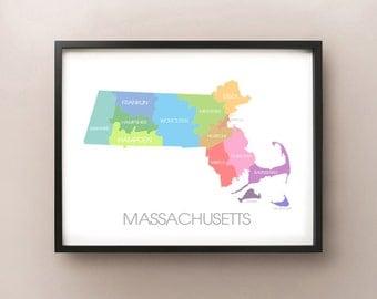 Massachusetts State Map - Custom Print