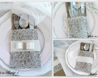 Burlap Silverware Holders with lace - Rustic table decor