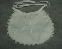 WHITE Christening Bib Girl Cotton with Cross embroidered AND LACE appliqué, Baptismal Accessory, Blessing Day Wear, White Bib, Shower Gift