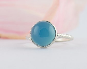 Blue Chalcedony Ring - May Birthstone Ring - Round Cabochon Ring - Sterling Silver Blue Ring - Stacking Ring - Size 3 4 5 6 7 8 9 10