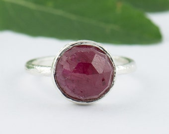 Silver Ruby Gemstone Ring - Ruby Silver Stackable Ring - Bezel set Ring - Red Handmade Ring - Size 3 4 5 6 7 8 9 10