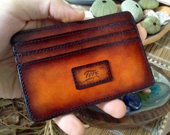 Personalized Wallet / Italian Leather Credit Card Holder / Ultra Slim / Hand Dyed / Laser Engraved /  Your Name / Your Design