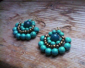 Hippie earrings, turquoise earrings, hippie jewelry, boho earrings, turquoise chandelier, turquoise accessories