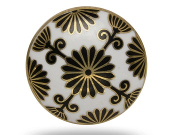 Retro Tunis Ceramic Door Knob in White, Black and Gold, Elegant Dresser Drawer Handle, Decorative Cabinet Knob, Ceramic Furniture Pull