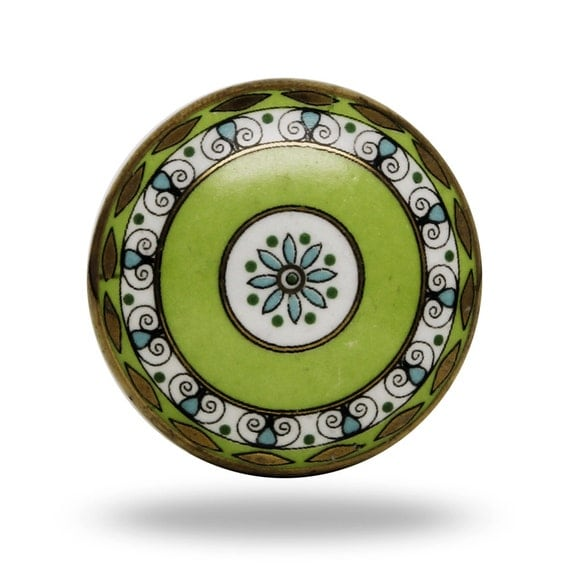 knob vintage round decorative furniture fixture green kitchen