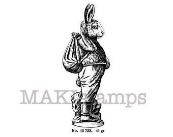 Hiking rabbit stamp / Easter rubber stamps / Unmounted rubber stamp (150201)