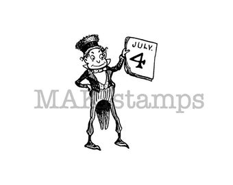 Brownie 4th of July celebration rubber stamp / Rubber stamp Americana / Unmounted or cling stamp option (150113)