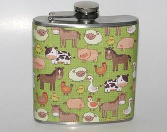 Cute Cartoon Farm Animals Horse Cow Pig Print 6 oz Stainless Steel Liquor Hip Flask Flasks Gift Idea