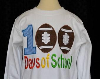 100 Days of School Football Applique Shirt or Onesie Boy or Girl