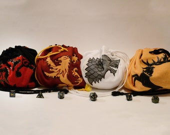 Game of Thrones -inspired House Sigil Dice Bags