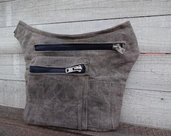 Waxed Canvas Hip Utility bag, Waxed Utility belt Bag, Travel Pouch, Sandy Gray Travel Pouch, Waist Bag