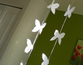 Paper Butterfly Garland White Two  Dozen Garden Leaf Seaside