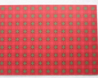 A4 Red & Green Christmas Tartan Printed Card - 10 Sheets