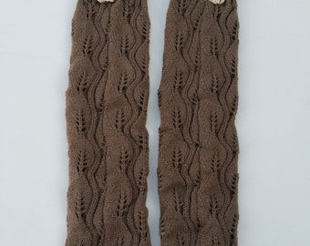 Women Knit Lace Long Button Leg Warmers, Boot Socks, Leg Sweaters, Cable Knit Socks-Standard Brown