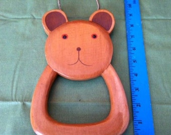 Hand-Carved Bear Towel Holder from Bali, Indonesia!