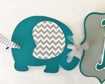 Elephant Baby Shower Banner in Teal and Gray